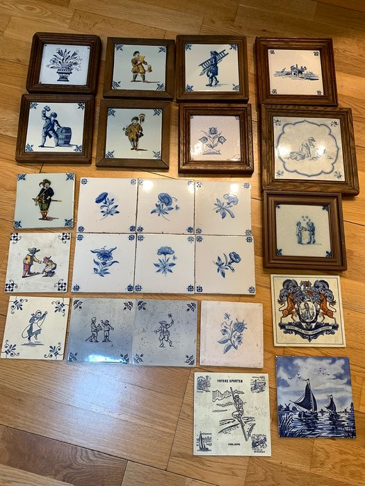 antique tiles with various representations (24) - Earthenware