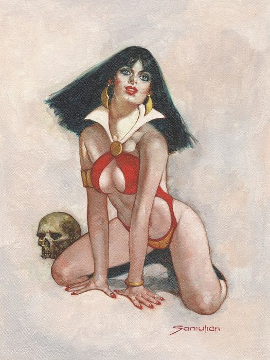 Sanjulian, Manuel - Oil On Canvas - Vampirella's 50th Anniversary - Original Painting - (2017)