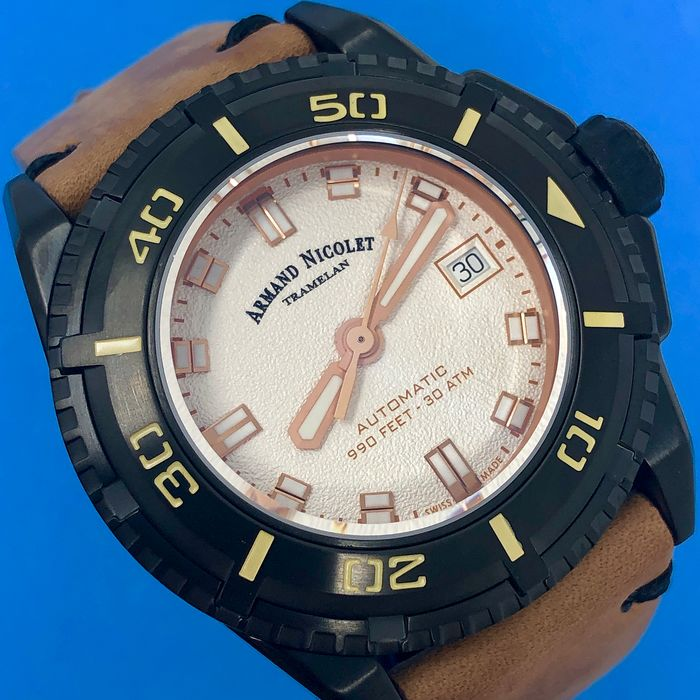 "Armand Nicolet - Automatic JS9 Diver Leather strap with Extra Silicone Strap - A460AKN-AS-PK4140CA ""NO RESERVE PRICE"" - Uomo - Brand New"