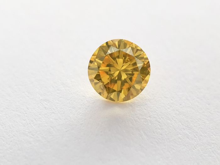 1 pcs Diamant - 0.27 ct - Rond - fancy vivid orange yellow - SI1