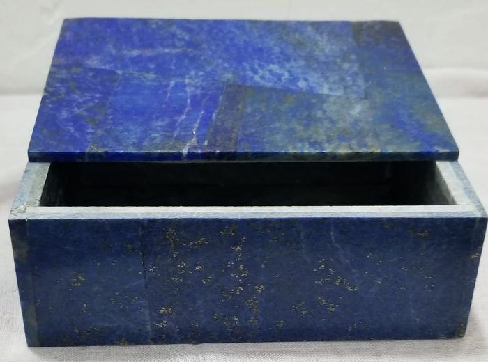 Natural Hand Made Polished Lapis Lazuli With Pyrite inclusions  Jewellery Box - 14×10.5×5 cm - 948 g