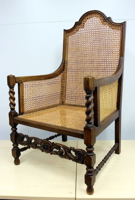 An antique chair with cannade wickerwork - Bamboo, no damage, with rich carving and twisted styles.