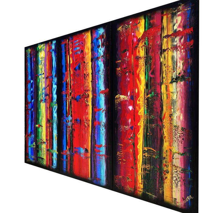 Ksavera - Large Abstract A350 - colorful triptych