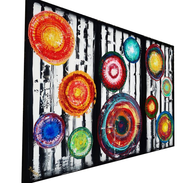 Ksavera - Large Abstract A351 - colorful triptych