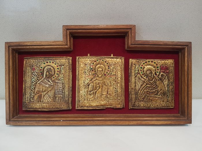 Icon, orthodox Virgin Mary, Pantocrator and Archangel (1) - Alloy