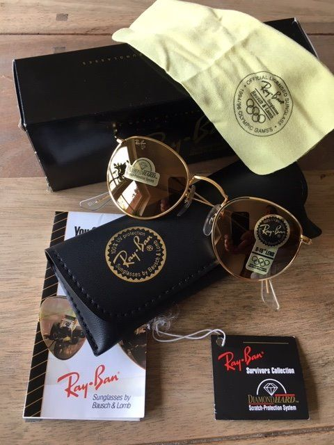 Ray-Ban - Vintage B&L Small Round Metal Diamond Hard W1911 Zonnebril