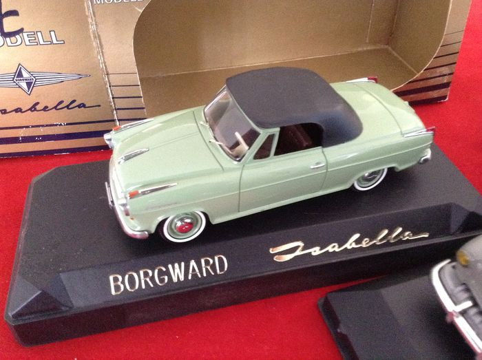 Leader & SE Modell - 1:43 - ref. #2184 Opel Olympia Vanette grey 1954 & SE Modell Borgward Isabella Cabriolet 2/2 1956 - very good quality modelcar - limited edition