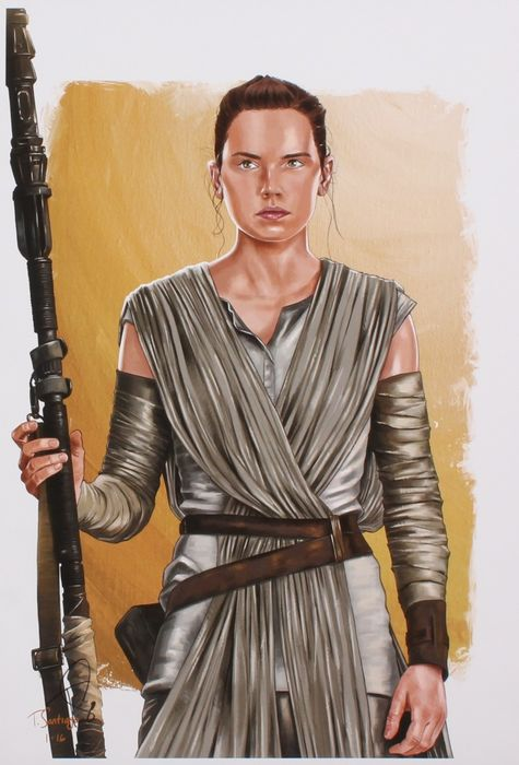 Star Wars - Rey - Tony Santiago - Signed Lithograph  ( 33 x 48 cm ) - with Certificate Of Authenticity PA