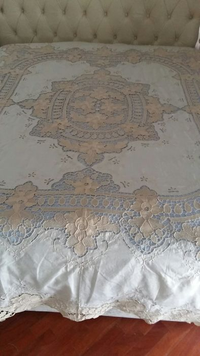 Bedspread, Burano linen and lace (1) - linen and Burano