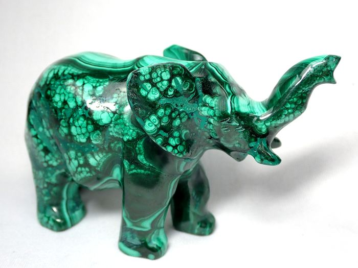 Oude Malachiet olifant 1470ct - 96.47×59.48×37.87 mm - 294 g