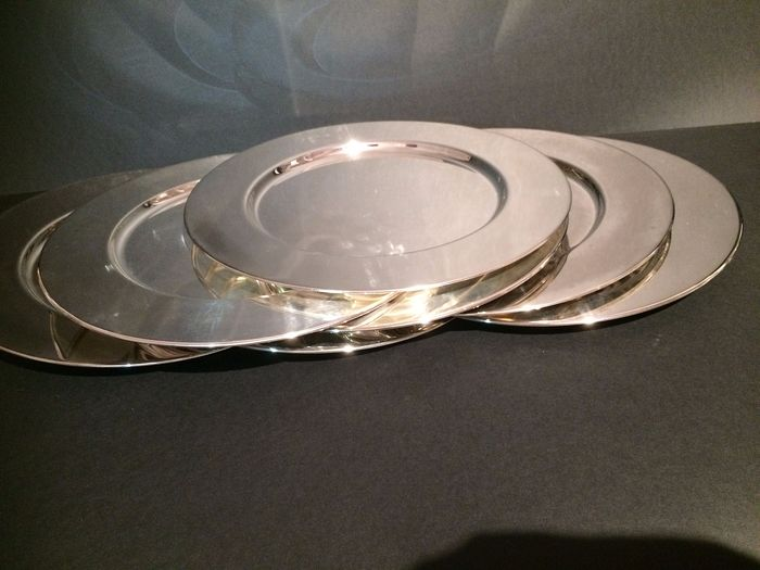 Seven decorative charger plates with upright edge -silver plated