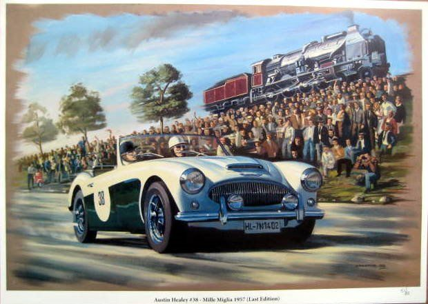 Impresión de bellas artes - Austin Healey #38 in The Last Edition Of The Mille Miglia 1957