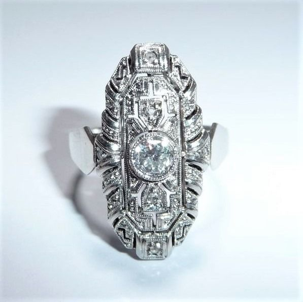 590 Or blanc - Bague, Navette - anneau navette - 0,40 ct. Diamants -