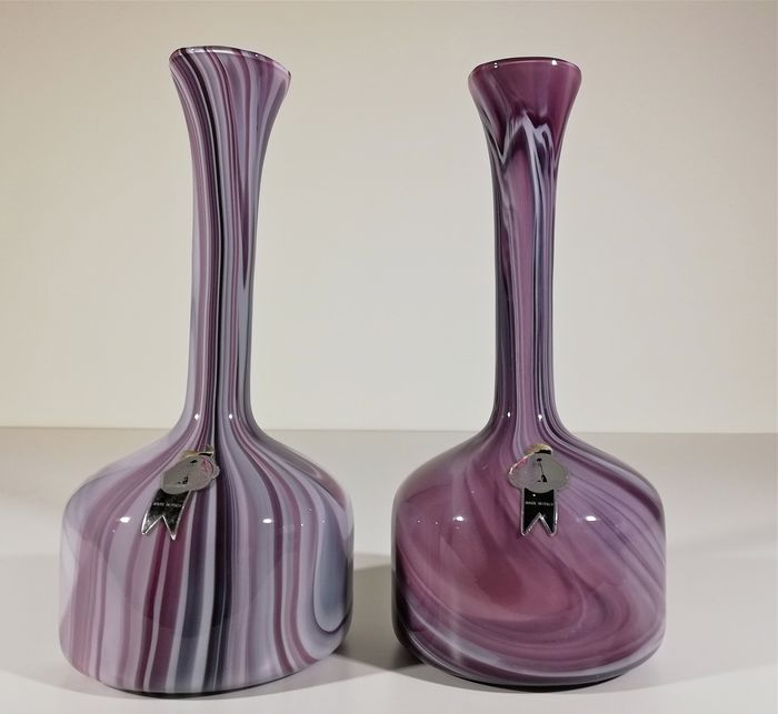Stylish pair of blown glass vases from the Florence 70s - Blown glass