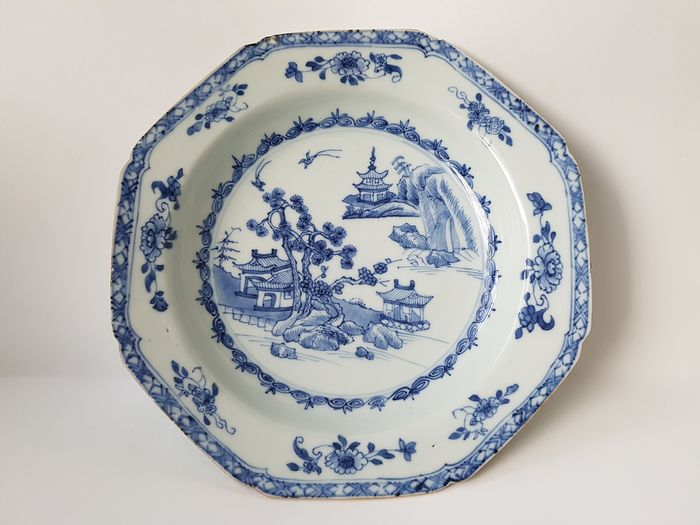 Blue White Octagonal Plate - Porcelain - China - First half of 19th century