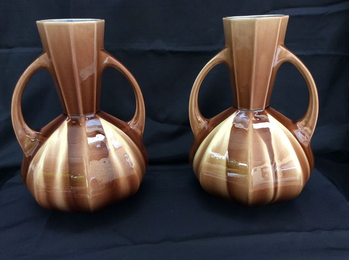 Gustave De Bruyn - Fives Lille - Made in France - couple beautiful Art Deco vases (2)
