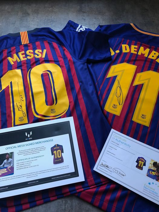 official photos de16b 168f0 FC Barcelona - Spanish Football League - 2017 - FC Barcelona jerseys signed  by Messi and Dembelé - Catawiki