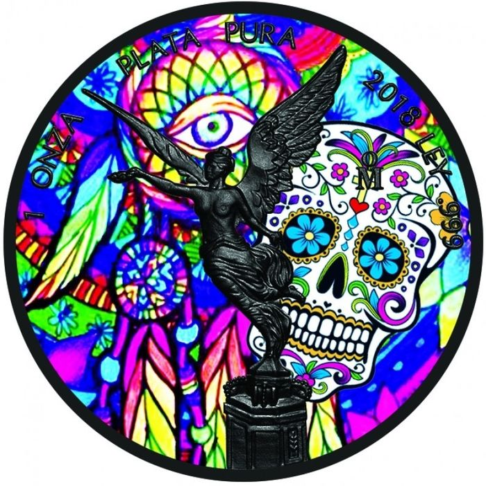 """Mexico - 1 Onza  2018 Libertad """" Day Of The Dead """"  - Ruthenium Plated Colorized - 1 Oz - Zilver"""