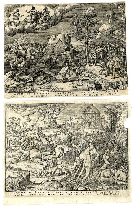 Étienne Delaune - 2 Prints of  story of Apollo & Diana: Apollo slaying Python; Leto and the Lycian Peasants