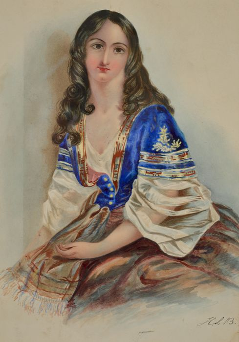 English school. (19th century) - Portrait of an attractive young lady.