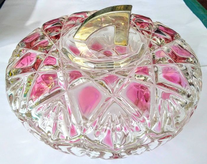 Vintage Walther Glas Saturn Rose Lidded Bonbon Dish - Glass