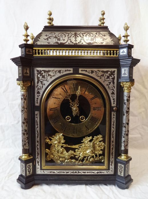 large boulle table clock with 4 columns - Wood - mid 19th century