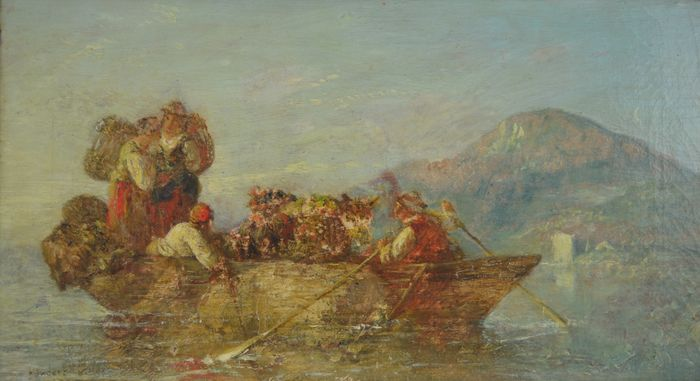 Frederick Charles Underhill (19th century) - Figures on a lake in a rowing boat with cow