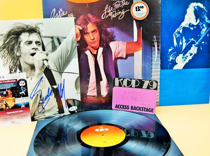 Eddie Money - signed 1979 /Backstage pass 1979/ and his greatest LP 1979/never come Back item - LP album - 1979/1979
