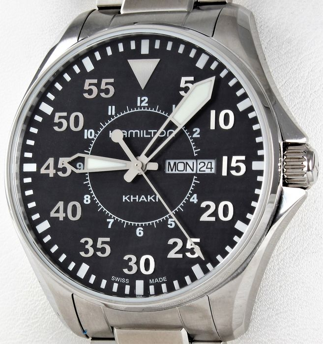 Hamilton - KHAKI AVIATION PILOT DAY DATE - Swiss ETA Calibre - Ref. No: H646611.135 - Never Worn - Men - 2011-present