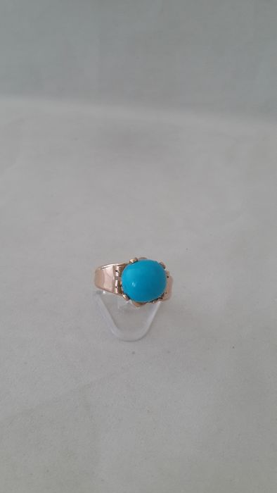 Le Louvres des antiquaires - 14 kt. Pink gold - Ring Turquoise
