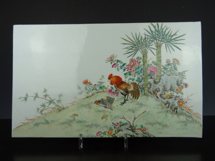 Tile - Famille rose - Porcelain - China - Republic period (1912-1949)