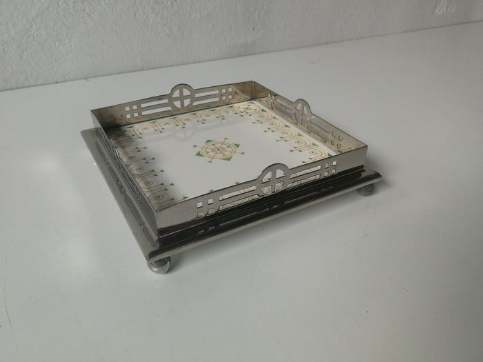 Art Deco; Chris van de Hoef tile; coaster with silver plated raised edge