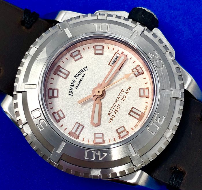 Armand Nicolet - Automatic JS9 Diver Dark Brown Leather strap with Extra Silicone Strap Swiss Made - A460AGA-AS-PK4140TM - Homme - Brand New