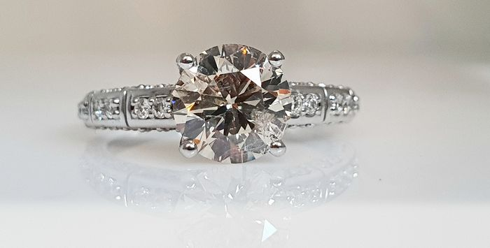 14 kt. White gold - Ring - Clarity enhanced 2.24 ct Diamond