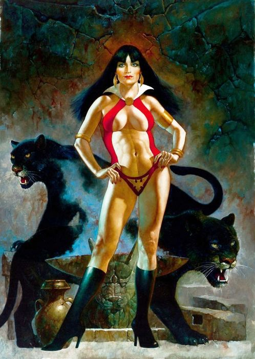 Sanjulian, Manuel - Vampirella with Black Panthers - Official Signed H.C. Giclée - Vampirella's 50th Anniversary - Official Limited Edition - (2019)