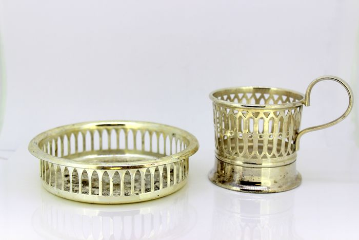 Vintage coaster and glass holder - Silverplate