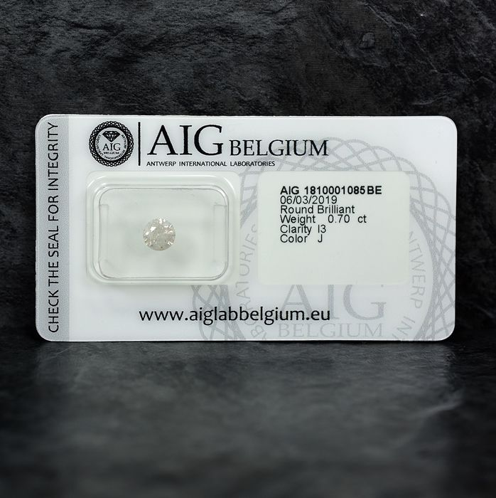 Diamant - 0.70 ct - Brillant - J - I3 - NO RESERVE PRICE