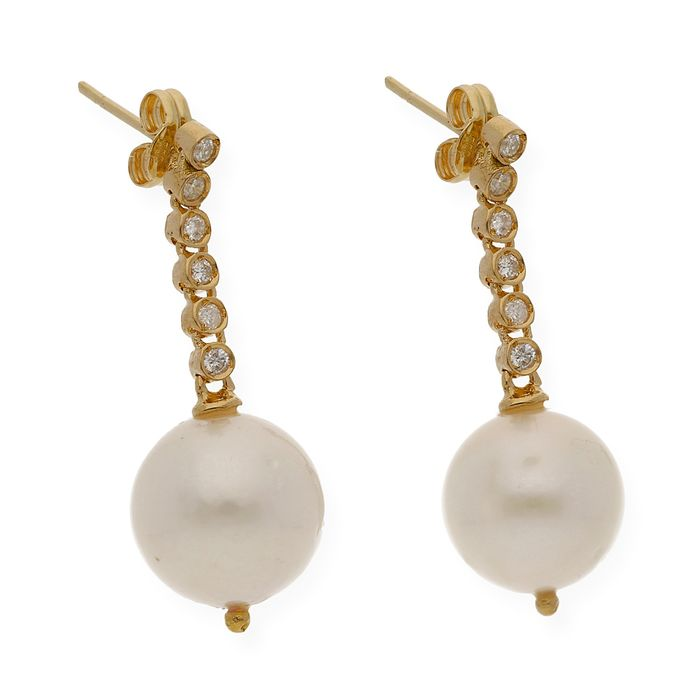 18 kt. Gold, South sea pearl, Yellow gold - Earrings - 0.40 ct Diamond