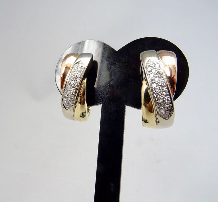 18 kt. Pink gold, White gold, Yellow gold - Earrings - 0.57 ct Diamond