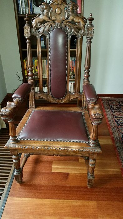 Armchair (1) - Jacobean Style - Oak - Late 19th century