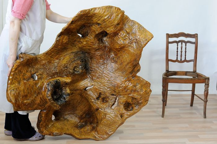 Sculpture, Sculpture made from a large exotic plant root, gouged by hand - Contemporary