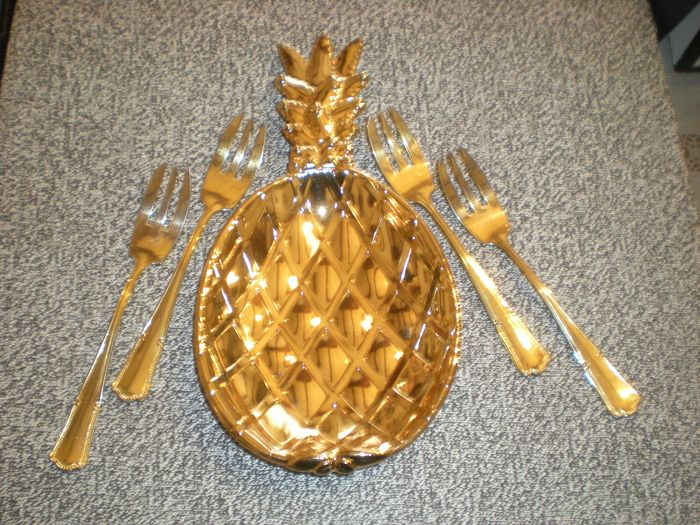 ANANAS cup + 4 vermeil forks (5) - Steel (stainless), golden