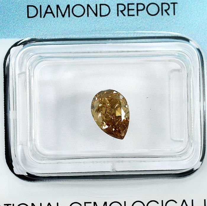 Diamant - 0.93 ct - Birne - Natural Fancy Orangy Brown - SI1