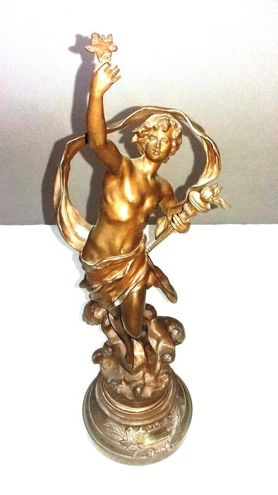 "Louis Moreau (1855-1919) - Sculpture, ""Crepuscule"" - Art Nouveau - Zamac - Late 19th century"