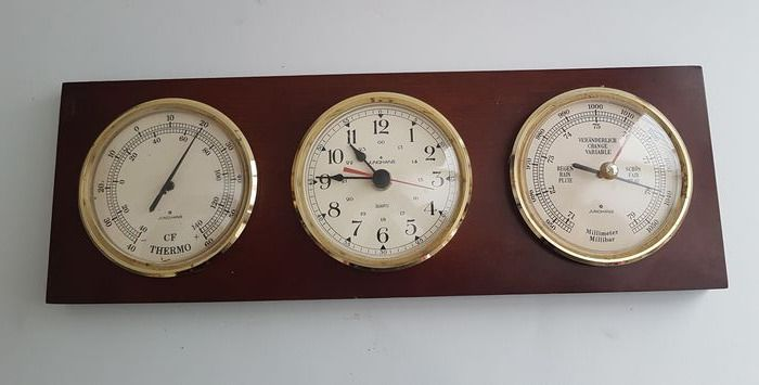 Junghans - 3-part weather station - Wood, brass