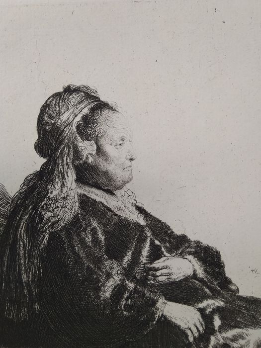 After Rembrandt Harmensz van Rijn (1606-1669) printed by M. Charreyre (1883-1884)  - Seated woman (with oriental hair dress)