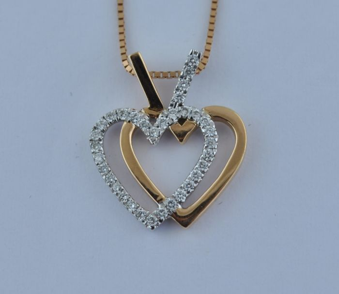 Intertwined Hearts - 18 karaat Geel goud, Witgoud - Hanger Diamant