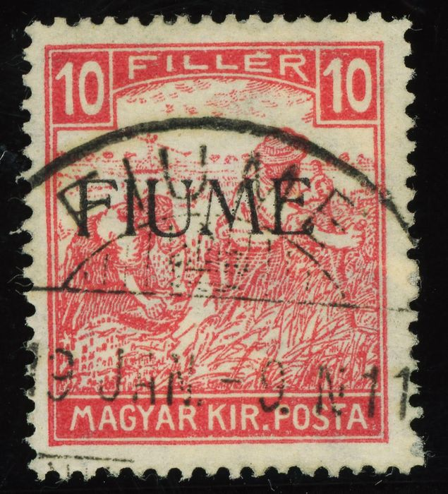 Fiume 1918 - 10 f. white figures, machine overprint - Sassone 22
