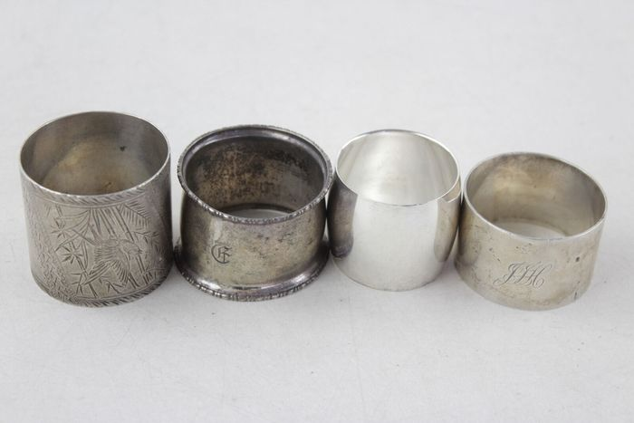 Lot of 4 Silver Napkin Rings (4) - .925 silver - U.K. - Early 20th century