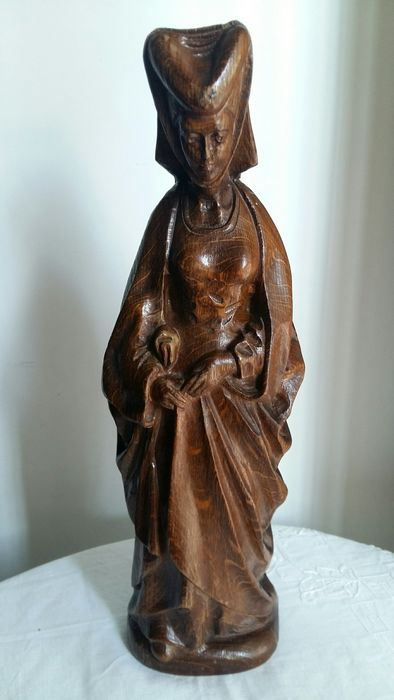 Large hand-carved wooden statue (1) - Oak - Early 20th century